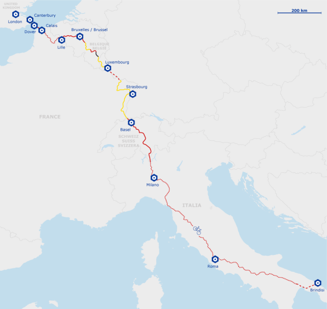 Map of Euro Velo 5 Cycling route from Canterbury through to Rome.